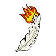 cartoon burning white feather