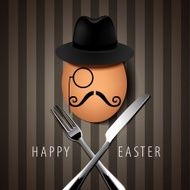 Vector Single Hipster Egg on with Knife and Fork
