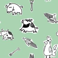 Seamless pattern cows hens pigs