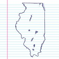 Vector Sketchy Map on White Lined Paper Background Illinois
