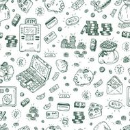 Financial and Business symbols Hand drawn Doodles Money Seamless pattern N4