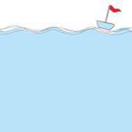 blue boat with red flag floating in the sea