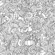 Thanksgiving autumn symbols food and drinks seamless pattern N4