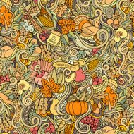 Thanksgiving autumn symbols food and drinks seamless pattern N5
