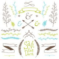 Wedding hand drawn doodles design elements