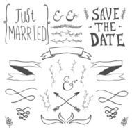 Wedding hand drawn doodles design elements N3
