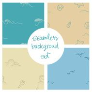 Beach and sea seamless background set