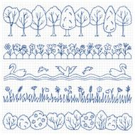 Set hand drawn nature border N2