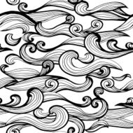 Seamless abstract hand-drawn pattern waves background N2