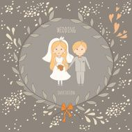 Wedding invitation with a very cute wedding couple N2