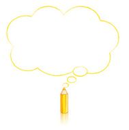 Yellow Pencil Drawing Fluffy Cloud Thought Balloon