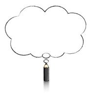 Black Pencil Drawing Fluffy Cloud Thought Balloon