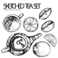 Hand drawn sketch vector tea set N21