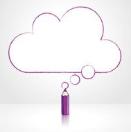 Purple Pencil Drawing Flat Cloud Thought Balloon