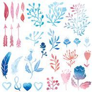 Watercolor nature clip art N2