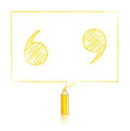 Yellow Pencil Drawing Quotation Marks in Rectangular Speech Ball