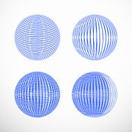 set of abstract blue 3D ball pattern for design