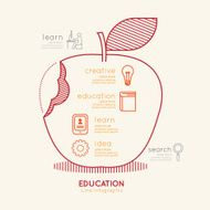 Flat linear Infographic Education Apple Outline concept Vector
