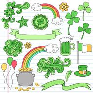 St Patricks Day Doodles Icons Vector Set