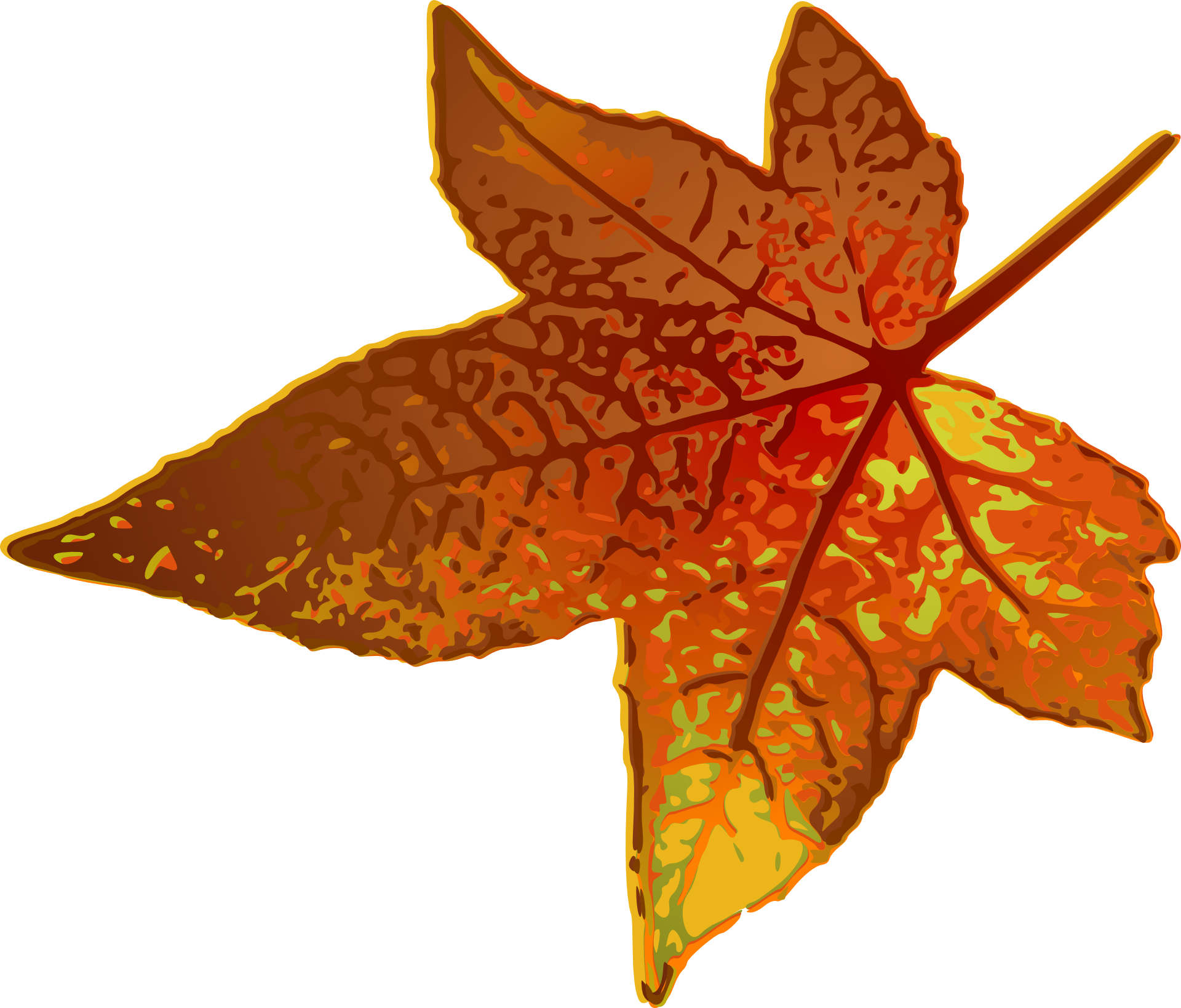 Drawing Of A Brown Maple Leaf Free Image