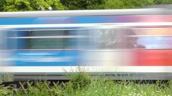 train at speed on the background of green trees
