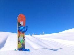 snowboard in the snow against the backdrop of snow-covered mountain landscape