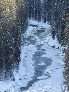 astounding creek frozen winter landscape