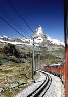 view from the train to the top in matterhorn in the alps