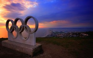 picture of the stone olympic games sign