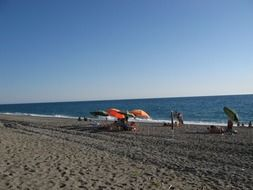 umbrellas on the beach in Calabria