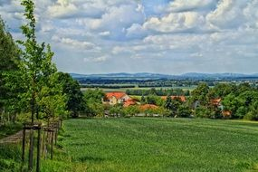 distant view of the village among the picturesque nature in Germany