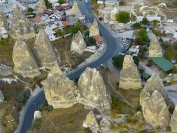 panorama of rocky dwellings in cappadocia