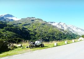 motorcycle on a mountain road in switzerland