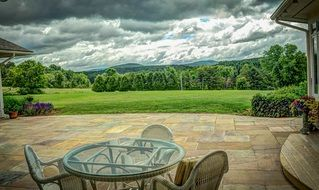 distant view of mount mansfield at summer, usa,vermont
