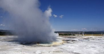 fuming geyser in yellowstone national park, wyoming