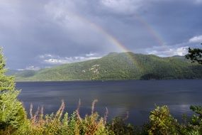 canim lake after thunderstorm in british columbia