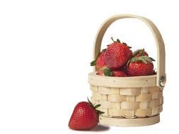 strawberries in the wicker basket
