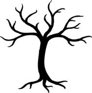 Black dried tree clipart