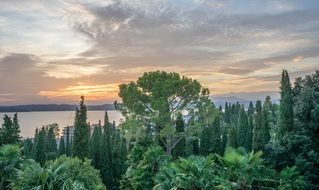 orange sunset lake garda italy