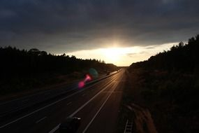 highway evening lens