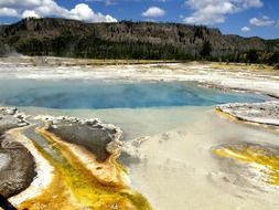 minerals near the lake in Yellowstone National Park, Wyoming