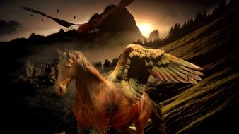 pegasus among the mystical landscape