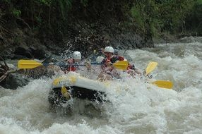 Whitewater rafting with team