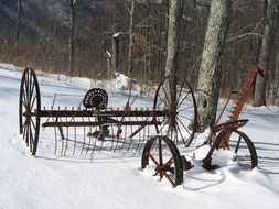 rural tools on a winter day