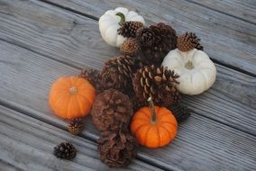pumpkin and pine cone