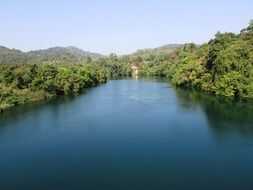Panorama of the river Kali in India