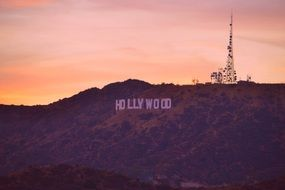 hollywood sign in landscape, usa, los angeles