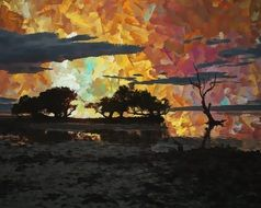 sunset trees landscape drawing