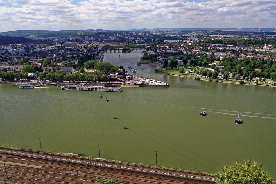 panoramic view of the rhine in koblenz