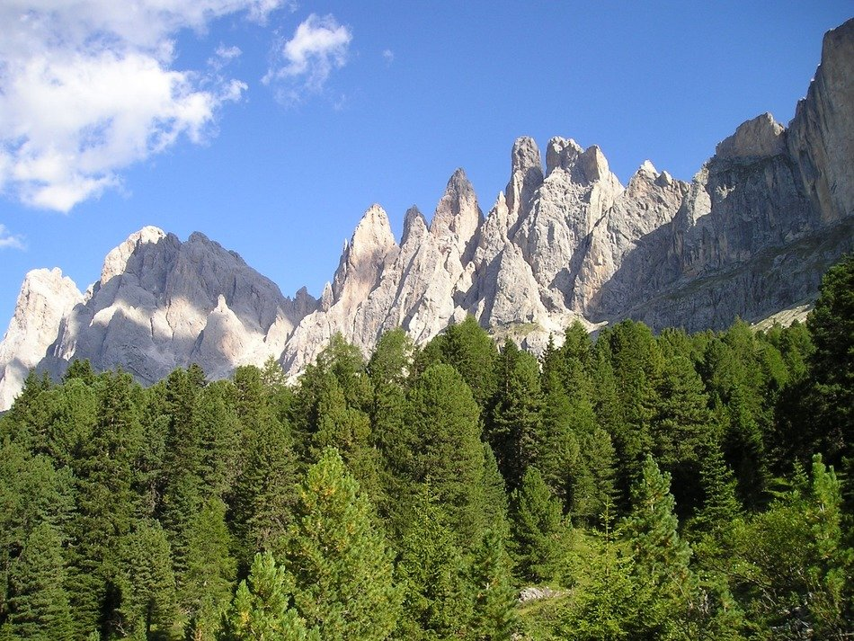 distant view of the geisler ridge in the dolomites